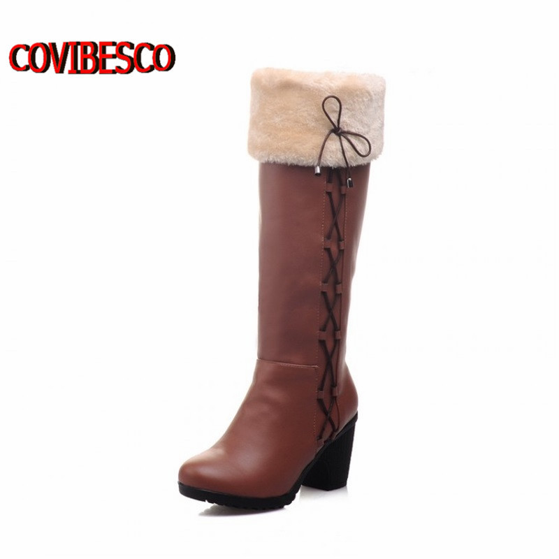 ФОТО Big size34-43,Fashion pu Leather thick high heeled Riding Boots autumn Winter Warm Fur Women's Knee High Boots long shoes