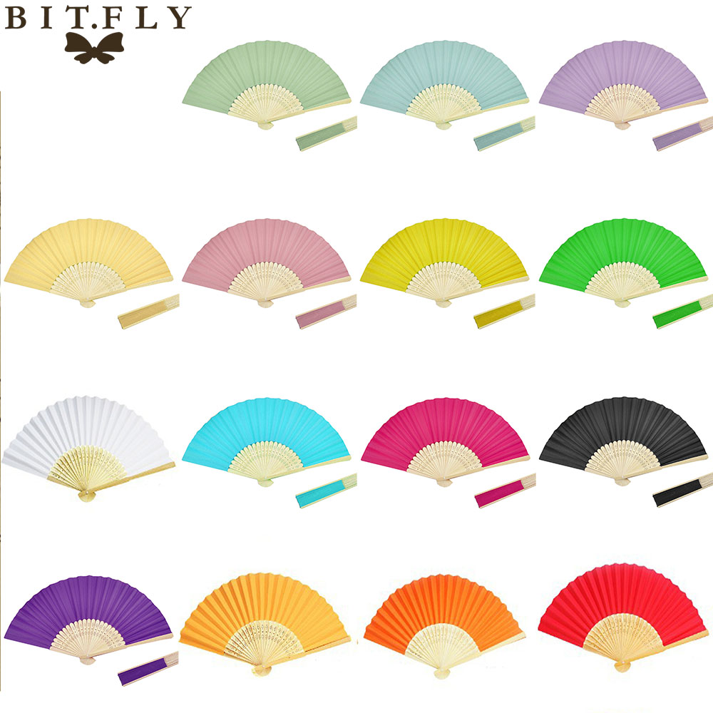 10pcs colorful personalized paper fans folding hand fans lot fan for wedding favors party Birthday Baby Shower decorations