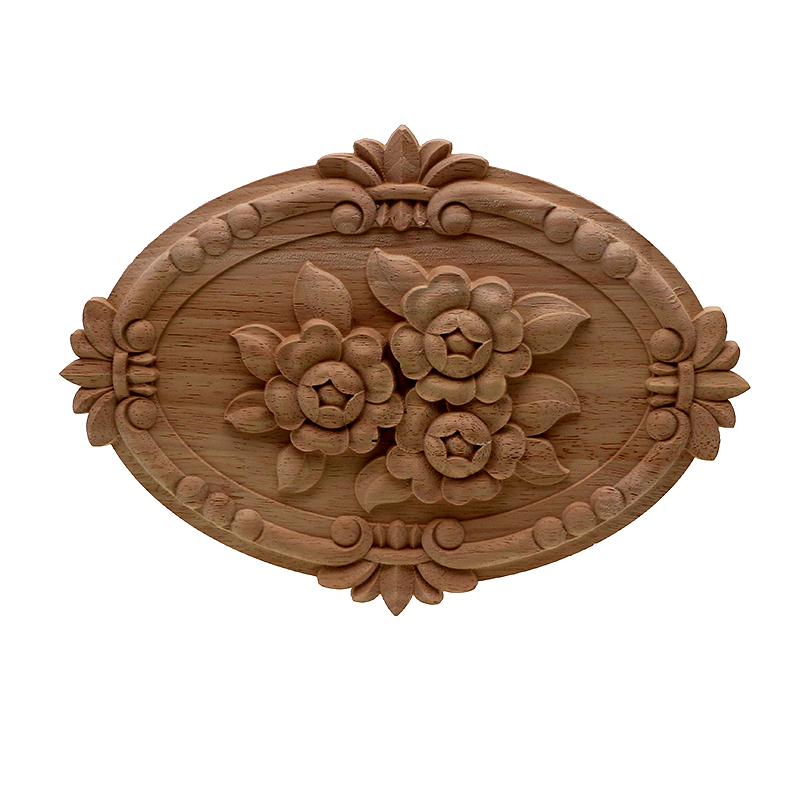 VZLX Flower Carving Natural Wood Appliques For Furniture Cabinet Unpainted Wooden Mouldings Decal Decorative Figurine