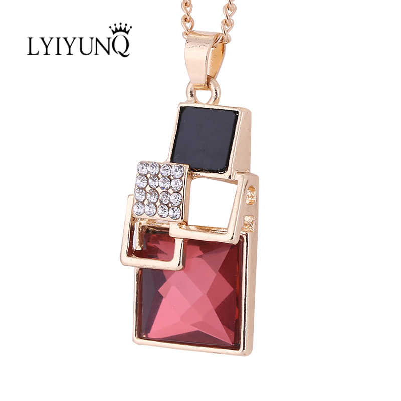 LYIYUNQ קלאסי כיכר הגיאומטרית קריסטל שרשראות & תליונים לנשים מותג האופנה ריינסטון שרשרת תליון