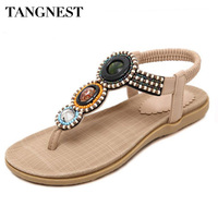 Tangnest Women Gladiator Sandals Summer Slip On Beading Flat Sandals Comfortable Beach Flat Shoes Woman Plus