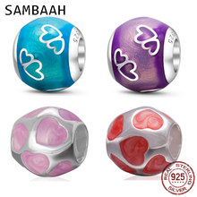 Sambaah High Class Enamel Love You Heart Charms 925 Sterling Silver Round Beads for Original Pandora Valentines Day Bracelet