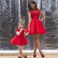 Милый Семейный Комплект Платья Для Матери И Дочери Cap Рукавом Мини Красные Короткие Платья Выпускного Вечера 2016