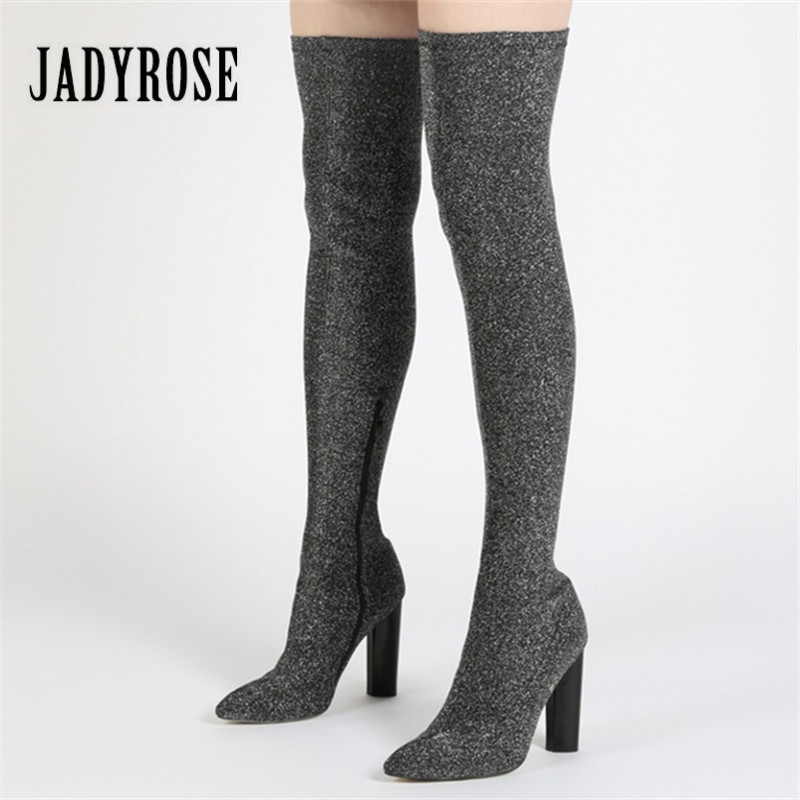 Jady Rose Silver Women Over The Knee Boots Side Zip Stretch Fabric Long Boot Chunky High Heel Thigh High Boots Sock Botas Mujer black stretch fabric suede over the knee open toe knit boots cut out heel thigh high boots in beige knit elastic sock long boots