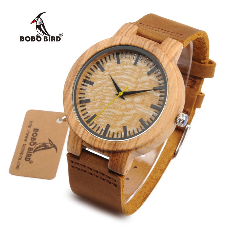 BOBO BIRD WbC20 Male Zebra Wooden Watches with Yellow Second Pointer and Soft Brown Leather Band for Men hot selling zebra wooden watches for men and womens lover fashion wristwatch with genuine leather straps