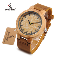 BOBO BIRD WbC20 Male Zebra Wooden Watches with Yellow Second Pointer and Soft Brown Leather Band for Men Network Switches