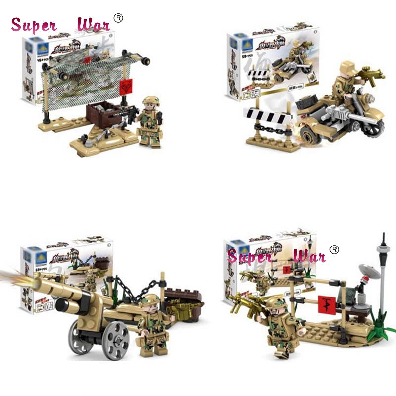82017 Jungle Camouflage Military Soldiers Weapon Sandbags Action Figure Model Building Blocks Brick toys for kids boys children
