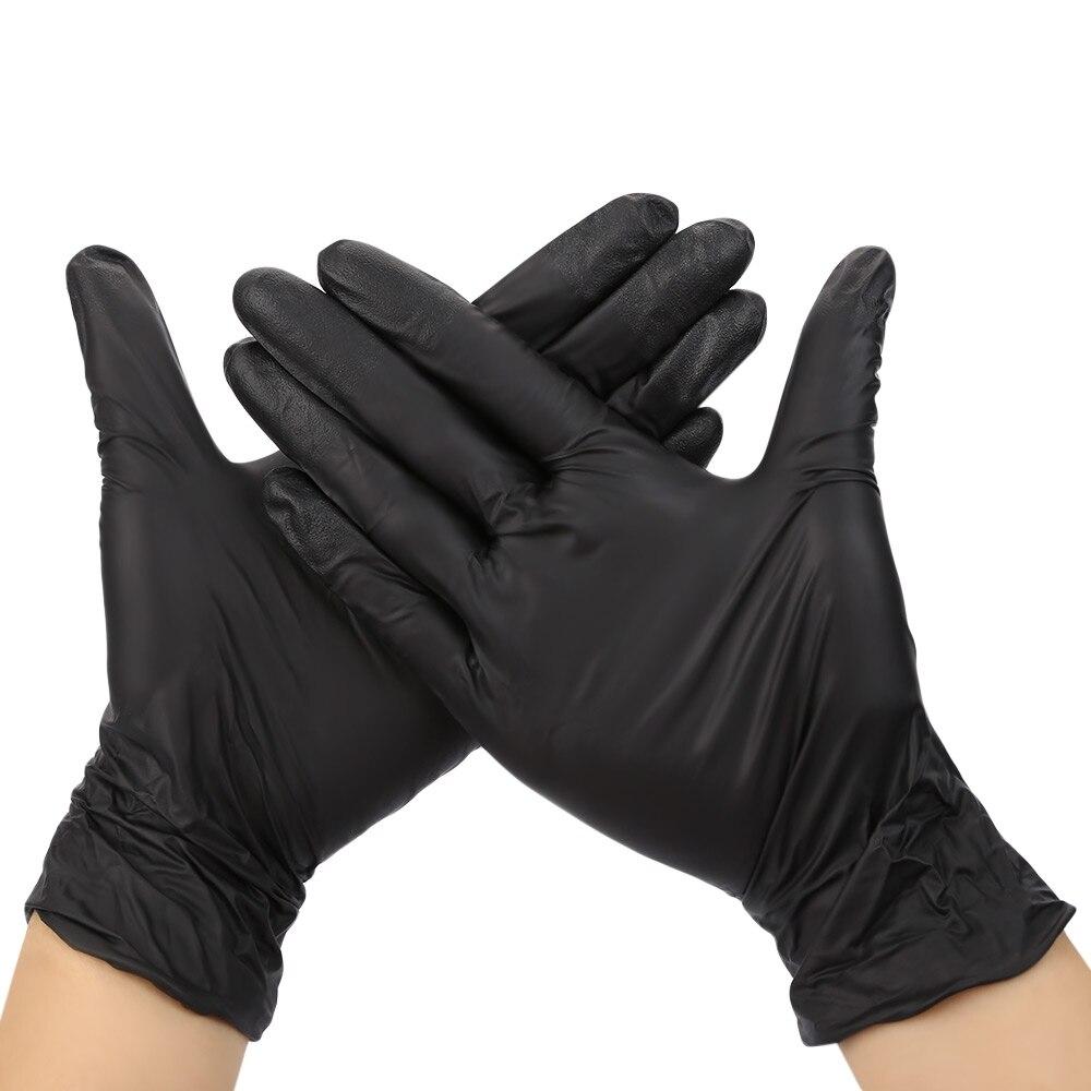 Black latex gloves xs - New 100pcs Lot Black Nitrile Gloves Disposable Powder Free Black Nitrile Oil Industrializationd Latex Glove