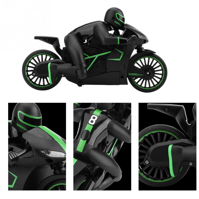 New RC Motorcycle 2.4G Rechargeable Remote Control Motorcycle RC Model Vehicle Toy Green good anti-collision performance/durable