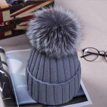 Cute Casual Women Beanies Warm Winter Knitted Caps Crochet Hats With Silver Fox Fur Pom Pom Hat MS-16