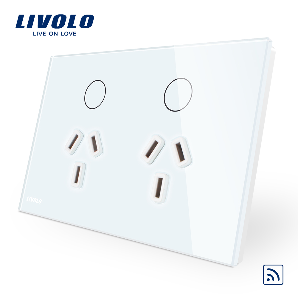Livolo Australia Standard Power Remote Socket White Black Glass Panel AC110 250V without any remote controller