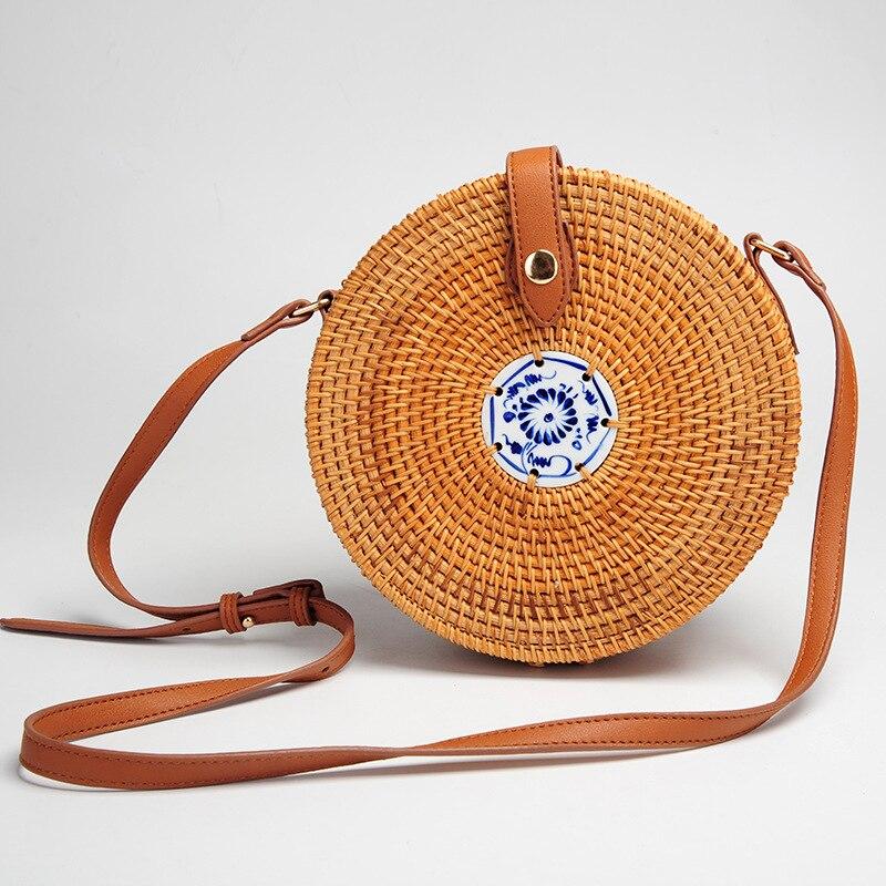 Reise Sommer Tasche für Damen Blau und Weiß Porzellan Dekoration Frauen Kreis Stroh Tasche Handgemachte Rattan Tasche Stricken tasche
