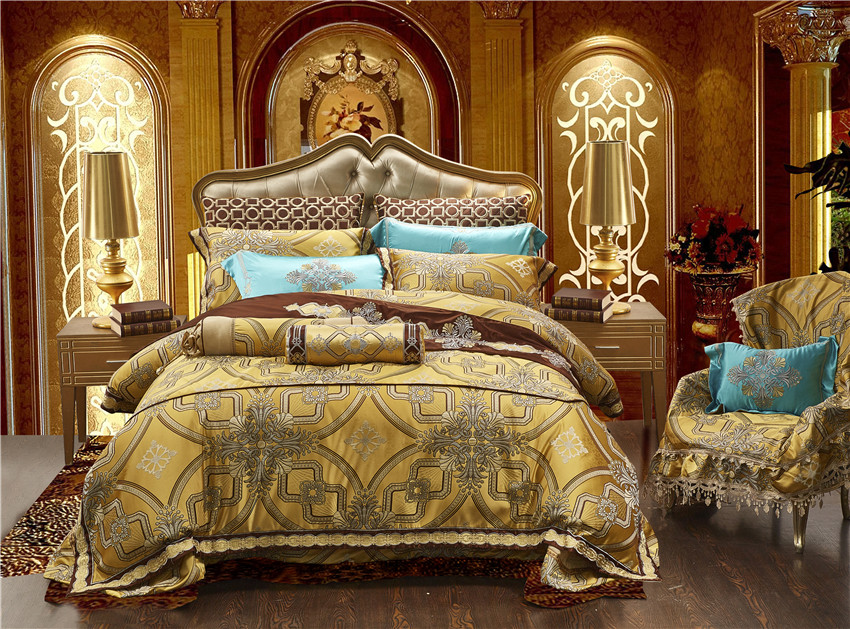10Pcs Luxury Satin Royal Bedding set Golden color Queen King size Duvet Bed cover Bed/Flat sheet Bed spread set Pillowcase