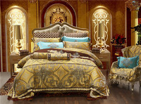 10Pcs Luxury Satin Royal Bedding set Golden color Queen King size Duvet Bed cover Bed/Flat sheet Bed spread set Pillowcase