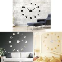 Fashion DIY Large 3D Number Mirror Wall Sticker Big Watch Home Decor Art Clock Laptop Sticker