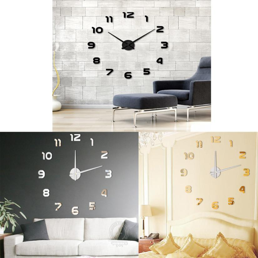 Fashion DIY Large 3D Number Mirror Wall Sticker Big Watch Home Decor Art Clock laptop sticker wall decals nt0