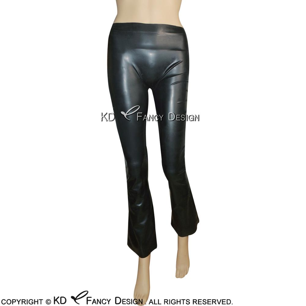 Black Sexy Latex Leggings With Flared Legs Rubber Bell Bottom Pants Trousers CK-0021 black lace details bell bottom pants