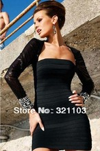 Shinny beaded around the sleeves with transpant mesh on the shoulder elegant women dress black bodycon dress DM789