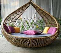 무역 보증 등나무 해변 태양 침대 복숭아 daybed 야외 정원 가구