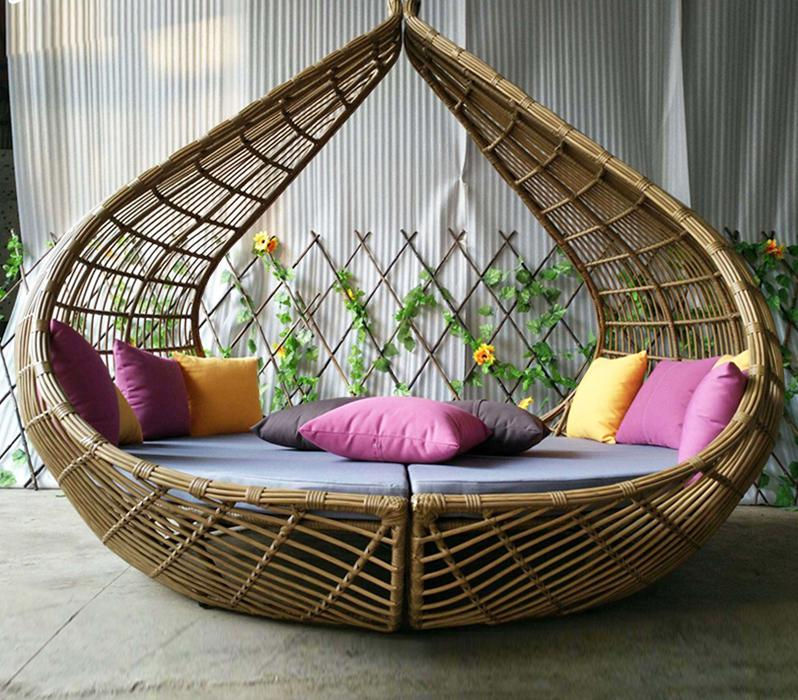 Trade Assurance Rattan Beach Sun Bed Peach Daybed Outdoor Garden Furniture