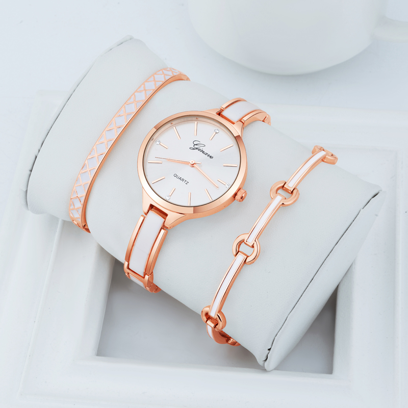 3Pcs/set Ginave Brand Rose Gold Lady Wristwatch Retro Luxury Simple Women Bracelet Watches Casual Stylish Female Gift Clock