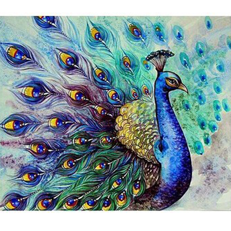 beauty life 5d diy diamond peacock painting animation bird bead work cross stitch full square drill mosaic kits diamond