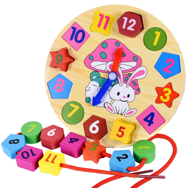 Baby Toys  Upgraded Version Cartoon Rabbit Threading Clock Figure Blocks Wooden Toys Child Educational Geometry Beads Toys Gift new arrival nut assembly tool box 68pcs baby wooden toys child educational garden tool toys nut combination chirstmas gift
