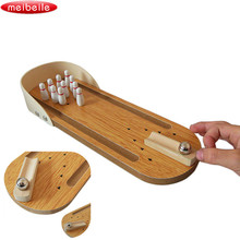 Anti-stress Entertainment Mini Desktop Bowling Game Set Wooden Family Fun Toy Funny Party Toys For Children Antistress(China)