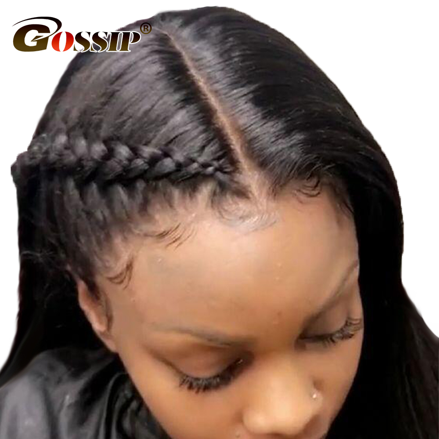 Brazilian Straight 360 Lace Frontal Wig Pre Plucked With Baby Hair Gossip Lace Front Human Hair Wigs For Black Women...