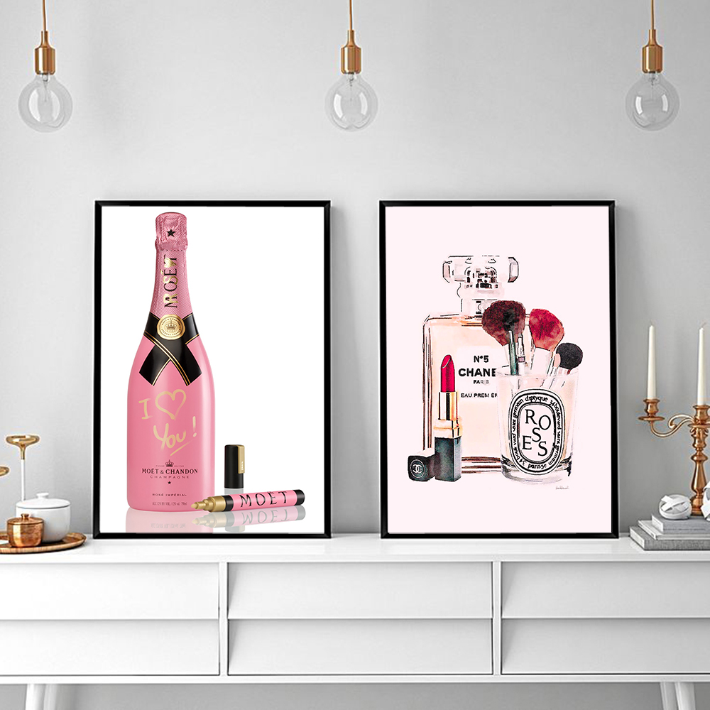 Fashion Pink Bottles Poster Nordic Art Canvas Painting Flower Posters and Prints Vogue Wall Pictures for Bedroom With Frame