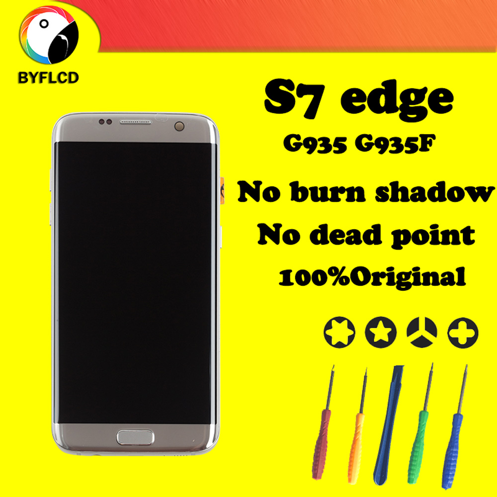 Original AMOLED Lcd For Samsung S7 edge screen G935 G935F Display For Samsung Galaxy S7 edge Lcd Touch Display Assembly Replace