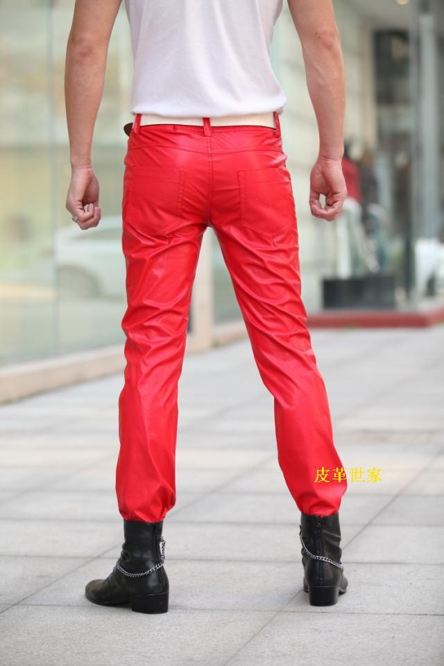 d58729f30e64 30 36 ! Men s slim leather pants color more red