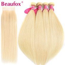Beaufox 613 Bundles With Closure Straight Peruvian Human Hair Bundles Blonde 4 Bundles With Closure Remy 613 Hair Extension(China)
