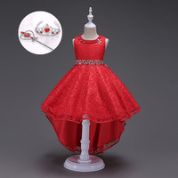 Graduation Dress Styles High Quality Elegant Evening Gowns Party Kids Long Dresses For Girls Red Blue