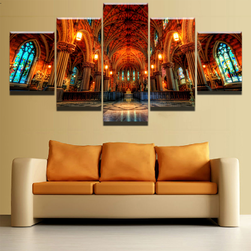 Canvas Wall Art Pictures Living Room Hd Prints 5 Pieces Altar Arch Cathedral Religious
