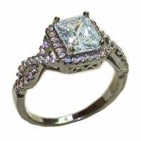 Fashion10Kt Black Gold Filled Pave SettingSimulated Diamond 6ct Square CZ Stone Ring Finger Wedding Birde Band