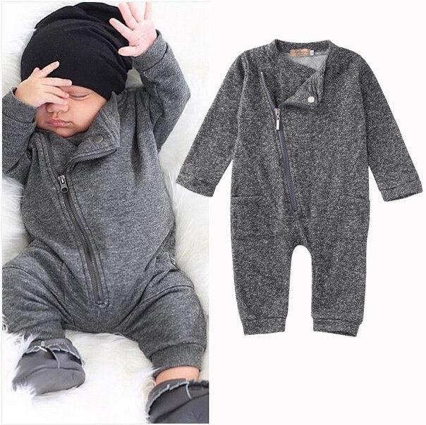 New Hot Fall Gray Romper Baby Boy Girls Jumpsuit Long ...