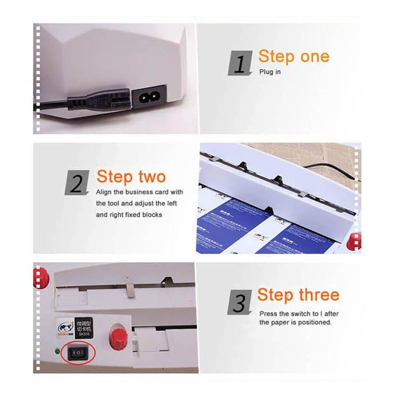 A4 größe elektrische visitenkarte schneiden maschine SK316 90*54mm karte größe SK316 Heavy duty feine tuning karte cutter 220 240 V 20 W HEIßER - 6