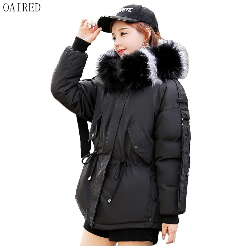 Large Fur collar Coat Jacket Women Winter 2019 New Winter   Parka   Women Short Slim Thickening Warm Wadded Jacket Female Black