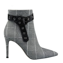 2019 New Wool Fabric Plaid Ankle Boots For Women Shoes Pointed Toe Sexy Thin High Heels Ladies Boots Botas Mujer Bota Feminina luxury design knitted peep toe boots summer sock ankle women elastic stretch botas high heels pumps ladies dress bota feminina