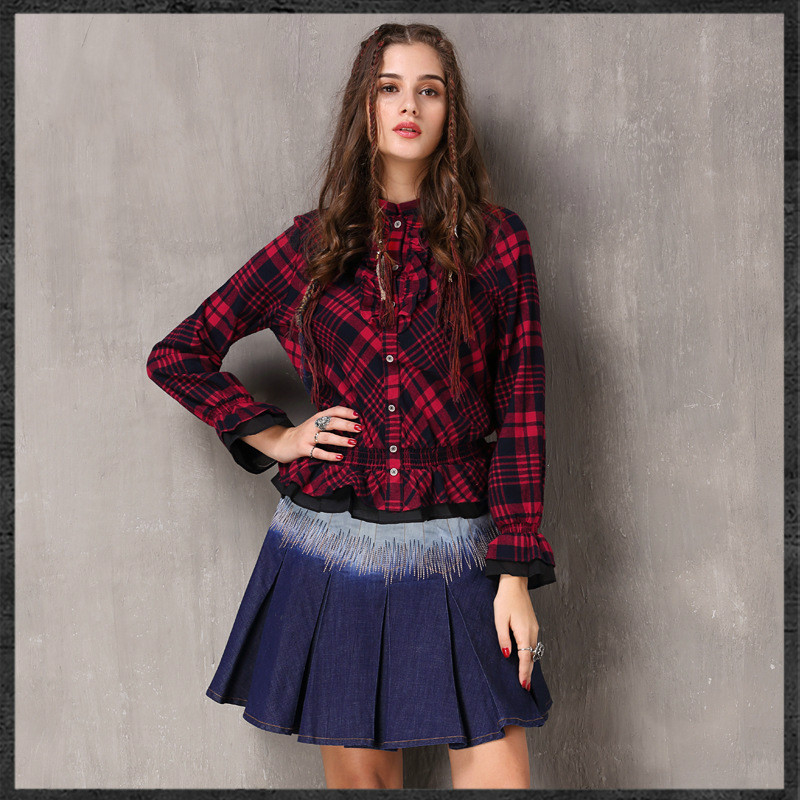 LYFZOUS ethnic style Retro Plaid Blouse Women Red Stand Collar Butterfly Sleeve Ruffles Blouses Cotton Slim Shirt Tops for women