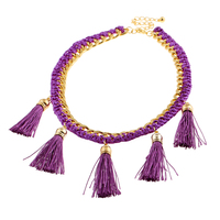 Fashion Woman Plating Gold Silver Chain Necklace Crystal Imitation Pearl Collar Short Purple Wool Tassel Necklace