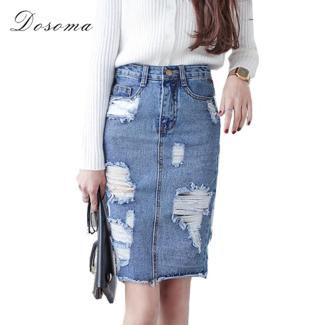 3xl más tamaño falda de mezclilla de las mujeres 2017 de primavera/otoño vintage ripped denim falda de las mujeres oficina delgado falda lápiz sexy pantalones vaqueros falda