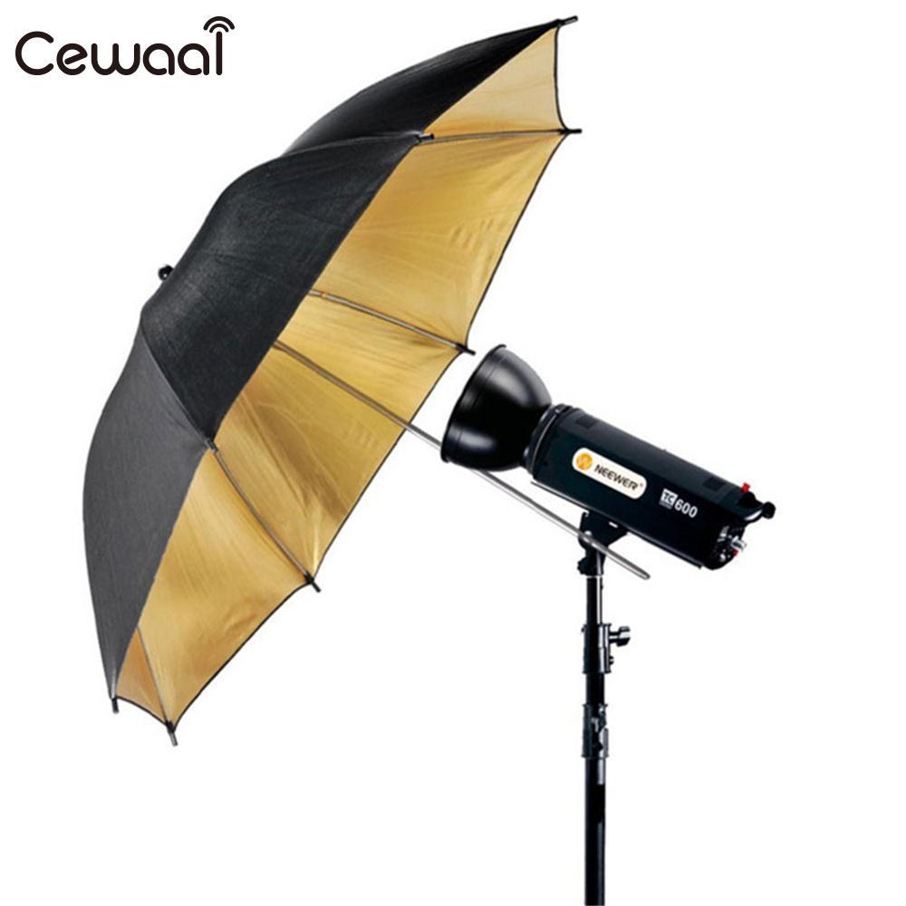 Cewaal Photo Video Speedlite Flash Lighting Reflector 33'' 83cm Reflective Umbrella Black Gold Flash Diffuser Portable