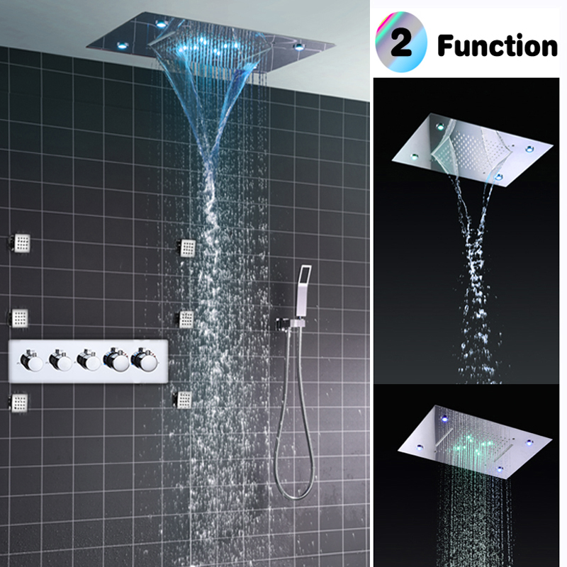 Bathroom Fixture Conceal Rain Shower Ceiling Mounted Waterfall Rainfall Shower Head High Flow Thermostatic Big LED Shower Set vehhe 20cm round bathroom fixture big rain shower chorme grey silica gel holes top wall mounted shower ceiling rain shower head
