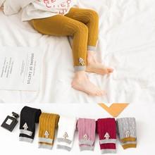 Популярные Стрейчевые леггинсы для маленьких девочек Мягкие штаны весенне-осенние вязаные брюки для малышей эластичные теплые брюки