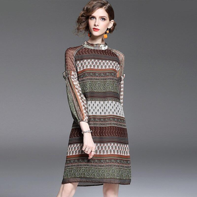 Top quality autumn dress 2017 new fashion brand runway Chiffon dress knee length o neck vintage