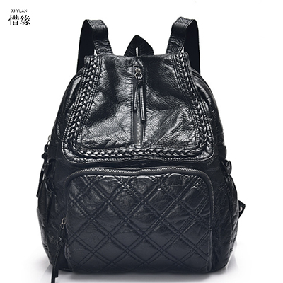 women Cute Mochila Escolar Backbag Women Black Real Brand Famous Backpack For Teenage Girls Feminina School