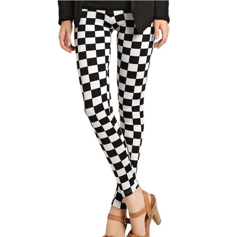 CUHAKCI Wanita Legging Fashion Kotak-kotak Cetak Legging Seksi Legging Fitness Leggins Grid Bunga Garis Celana Pinggang Tinggi Celana