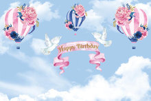 Laeacco Hot Air Balloons Watercolor Painting Baby Birthday Party Photography Background Customized Backdrop For Photo Studio